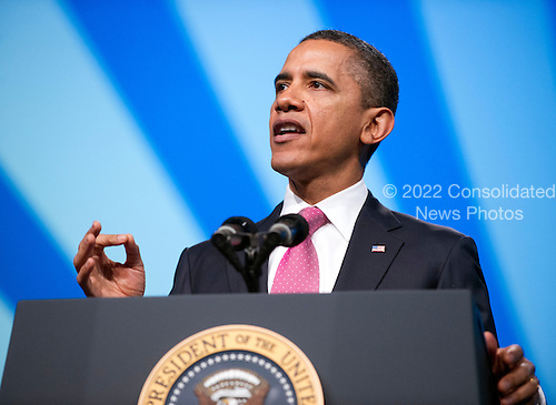 United States President Barack Obama delivers remarks at the American Israel Public Affairs Committee (AIPAC) Policy Conference in Washington, D.C. on Sunday, March 4, 2012..Credit: Ron Sachs / Pool via CNP