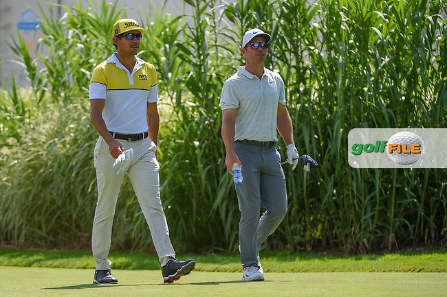 Rafael Cabrera Bello (ESP) and Paul Casey (ENG) head down 16 during 2nd round of the World Golf Championships - Bridgestone Invitational, at the Firestone Country Club, Akron, Ohio. 8/3/2018.<br /> Picture: Golffile | Ken Murray<br /> <br /> <br /> All photo usage must carry mandatory copyright credit (© Golffile | Ken Murray)
