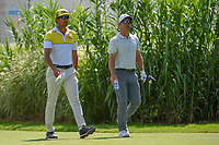 Rafael Cabrera Bello (ESP) and Paul Casey (ENG) head down 16 during 2nd round of the World Golf Championships - Bridgestone Invitational, at the Firestone Country Club, Akron, Ohio. 8/3/2018.<br />