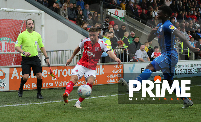 Wes Burns of Fleetwood Town on the attack during the Sky Bet League 1 match between Fleetwood Town and Rochdale at Highbury Stadium, Fleetwood, England on 18 August 2018. Photo by Stephen Gaunt / PRiME Media Images.