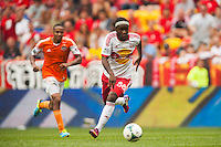 Peguy Luyindula (88) of the New York Red Bulls. The New York Red Bulls defeated the Houston Dynamo 2-0 during a Major League Soccer (MLS) match at Red Bull Arena in Harrison, NJ, on June 30, 2013.