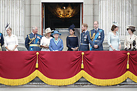 Sophie Countess of Wessex, Prince Charles, Camilla Duchess of Cornwall, HM The Queen Elizabeth II, Meghan Duchess of Sussex, Prince William, Prince Harry, Catherine Duchess of Cambridge, Princess Anne<br /> The Royal Family watch RAF centenary fly-past at Buckingham Palace, The Mall, London, England on July 10, 2018.<br /> CAP/GOL<br /> &copy;GOL/Capital Pictures