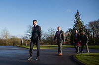 Ryan Giggs returns to Hensol Castle after a photo call, followed by FAW President David Griffiths, FAW head of public affairs Ian Gwyn Hughes and faces the press with FAW chief executive Jonathan Ford and after being unveiled as the new Wales National team Manager at Hensol Castle, Vale of Glamoran, on 15 January 2018. Photo by Mark Hawkins.