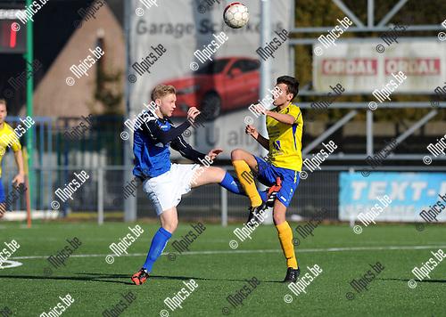 2015-03-08 / Voetbal / Seizoen 2014-2015 / Ternesse - Mariekerke / Jens Verboven (Mariekerke) met de fout op Olivier Somers die later nog de 2-1 zou scoren.<br /><br />Foto: Mpics.be