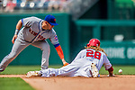 29 April 2017: New York Mets infielder Asdrubal Cabrera is unable to get a sliding Jayson Werth out at second in the 4th inning during a game against the Washington Nationals at Nationals Park in Washington, DC. The Mets defeated the Nationals 5-3 to take the second game of their 3-game weekend series. Mandatory Credit: Ed Wolfstein Photo *** RAW (NEF) Image File Available ***
