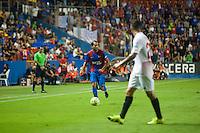 VALENCIA, SPAIN - SEPTEMBER 11: Verza and konoplyanka during BBVA LEAGUE match between Levante U.D. And Sevilla C.F. at Ciudad de Valencia Stadium on September 11, 2015 in Valencia, Spain