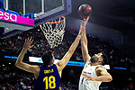 Barcelona's Pierre Oriola and Real Madrid's Felipe Reyes during Liga Endesa match between Real Madrid and FC Barcelona Lassa at Wizink Center in Madrid, Spain. March 24, 2019.  (ALTERPHOTOS/Alconada)