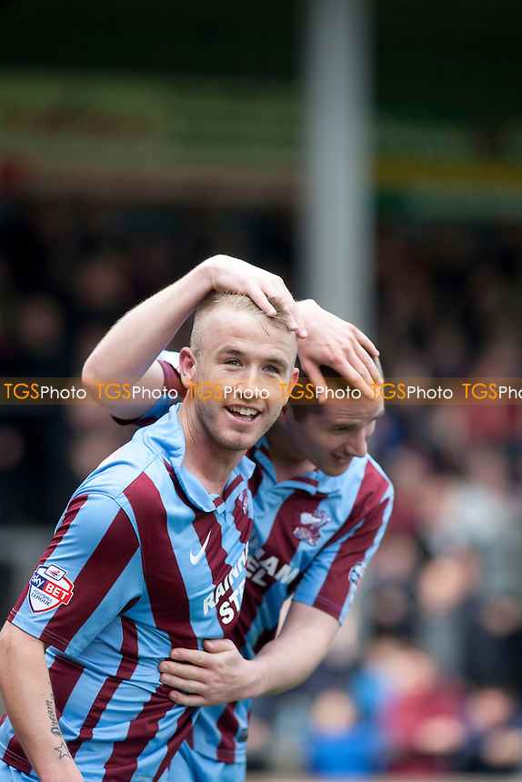 Paddy Madden of Scunthorpe U scores the opener<br />  - Scunthorpe United vs Bury - Sky Bet League Two Football at Glanford Park, Scunthorpe - 12/04/14 - MANDATORY CREDIT: Mark Hodsman/TGSPHOTO - Self billing applies where appropriate - 0845 094 6026 - contact@tgsphoto.co.uk - NO UNPAID USE