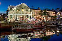 Naples Canals; Alamitos Bay, islands, Belmont Shore; Long Beach; CA; Luxury; Houses; Lit; Christmas Lights, Xmas
