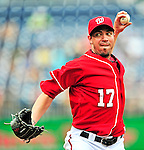 15 August 2010: Washington Nationals pitcher Sean Burnett on the mound in relief against the Arizona Diamondbacks at Nationals Park in Washington, DC. The Nationals defeated the Diamondbacks 5-3 to take the rubber match of their 3-game series. Mandatory Credit: Ed Wolfstein Photo