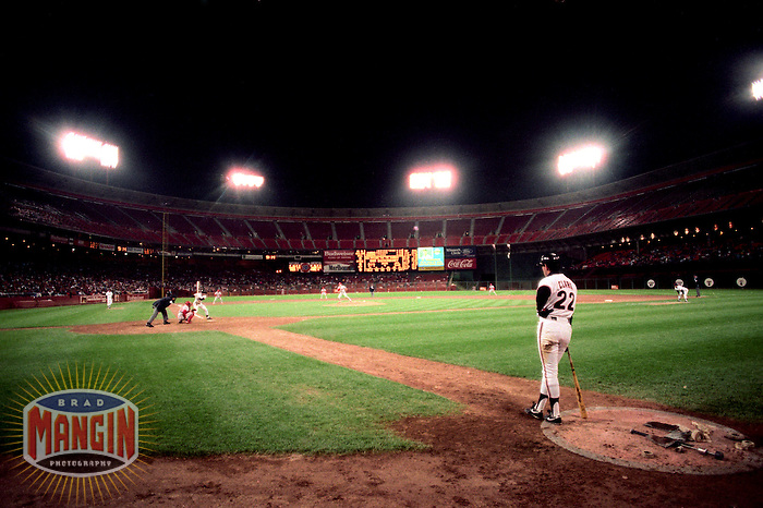 SAN FRANCISCO, CA - Will Clark of the San Francisco Giants waits in the on deck circle during a game against the St. Louis Cardinals in 1989 at Candlestick Park in San Francisco, California. (Photo by Brad Mangin)