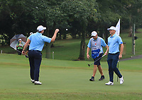 Paul Dunne and Alex Noren (Europe) on the 7th green during the Saturday Foursomes of the Eurasia Cup at Glenmarie Golf and Country Club on the 13th January 2018.<br /> Picture:  Thos Caffrey / www.golffile.ie