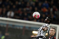 Calcio, Serie A: Milan vs Juventus. Milano, stadio San Siro, 9 aprile 2016. <br /> Juventus&rsquo; Paul Pogba, left, is challenged by AC Milan&rsquo;s Juraj Kucka during the Italian Serie A football match between AC Milan and Juventus at Milan's San Siro stadium, 9 April 2016.<br /> UPDATE IMAGES PRESS/Isabella Bonotto