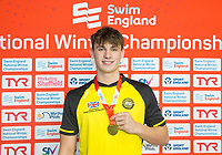 Picture by Allan McKenzie/SWpix.com - 13/12/2017 - Swimming - Swim England Winter Championships - Ponds Forge International Sport Centre - Sheffield, England - Jacob Peters takes gold in the mens open 50m butterfly.