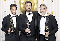 02/24/13 Hollywood, CA: Grant Heslov, Ben Affleck and George Clooney backstage after Argo won the Oscar for Best Picture