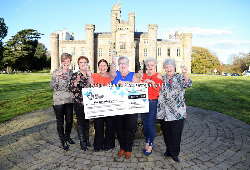 Pictured L-R: Julie Amphlett, Julie Saunders, Louise Ward, SIan Jones, Doreen Thompson and Jean Cairns. Wednesday 08 November 2017<br />Re: Presentation of hospital catering syndicate win £25m in Euromillions Jackpot at Hensol Castle, south Wales, UK. Julie Saunders, 56, Doreen Thompson, 56, Louise Ward, 37, Jean Cairns, 73, SIan Jones, 54 and Julie Amphlett, 50 all work as catering staff for Neath Port Talbot Hospital in south Wales.