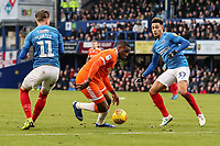 Blackpool's Donervon Daniels competing with Portsmouth's Luke McGee and Andre Green<br /> <br /> Photographer Andrew Kearns/CameraSport<br /> <br /> The EFL Sky Bet League One - Portsmouth v Blackpool - Saturday 12th January 2019 - Fratton Park - Portsmouth<br /> <br /> World Copyright &copy; 2019 CameraSport. All rights reserved. 43 Linden Ave. Countesthorpe. Leicester. England. LE8 5PG - Tel: +44 (0) 116 277 4147 - admin@camerasport.com - www.camerasport.com