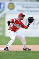 Batavia Muckdogs second baseman Iramis Olivencia (49) waits for a throw on a stolen base attempt during the second game of a doubleheader against the Connecticut Tigers on July 20, 2014 at Dwyer Stadium in Batavia, New York.  Connecticut defeated Batavia 2-0.  (Mike Janes/Four Seam Images)