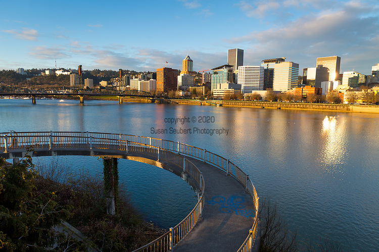 Morning view of Downtown Portland, Oregon with the Willamette River from the Eastbank Esplanade