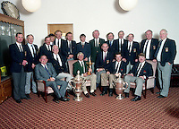 The late Christy O'Connor Jnr and his wife Anne pictured with the Ryder Cup whiel on a visit to Killarney Gold Club in 1990.<br /> Photo Don MacMonagle