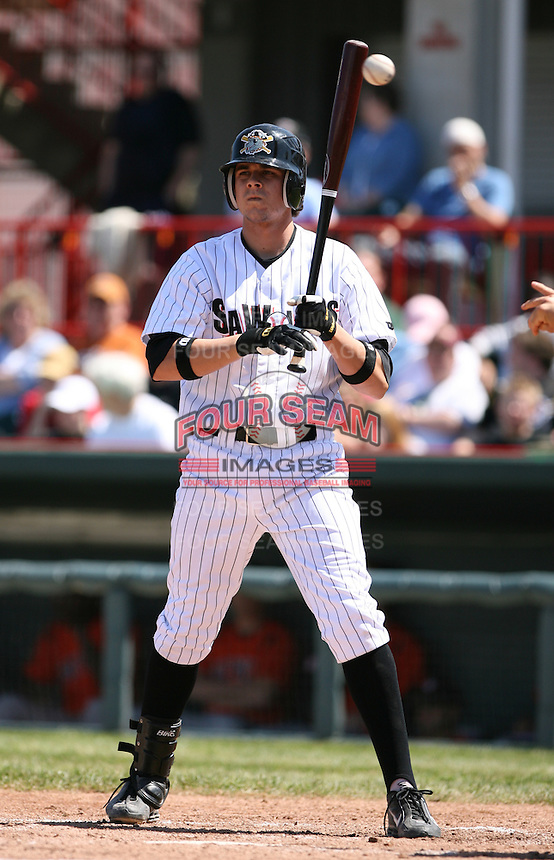 2007:  Jeff Larish of the Erie Seawolves in between pitches during an at bat vs. the Bowie Baysox in Eastern League baseball action.  Photo by Mike Janes/Four Seam Images