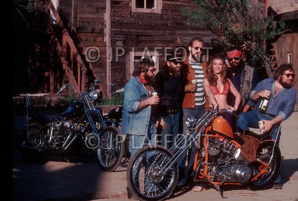 May 1978, Los Angeles, CA. Sheila with a motorcycle gang.