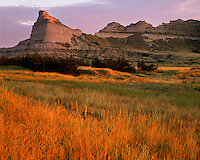 Sunrise light on grasses and sandstone bluffs; Scotts Bluff National Monument, NE
