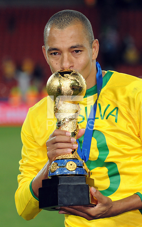 Gilberto Silva of Brazil celebrates with the Confederations Cup. Brazil defeated USA 3-2 in the FIFA Confederations Cup Final at Ellis Park Stadium in Johannesburg, South Africa on June 28, 2009.
