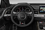 Car pictures of steering wheel view of a 2018 Audi S8 4.0-TFSI-quattro-Tiptronic-Plus  4 Door Sedan