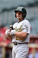 Oakland Athletics outfielder J.P. Sportman (28) during an Instructional League game against the Arizona Diamondbacks on October 10, 2014 at Chase Field in Phoenix, Arizona.  (Mike Janes/Four Seam Images)
