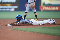 Tampa Yankees shortstop Jorge Mateo (14) slides into second base during the second game of a doubleheader against the Bradenton Marauders on April 13, 2017 at George M. Steinbrenner Field in Tampa, Florida.  Tampa defeated Bradenton 2-1.  (Mike Janes/Four Seam Images)