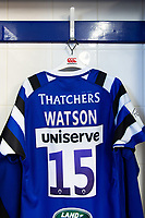 A general view of the matchday jersey of Anthony Watson of Bath Rugby, hung up in the changing rooms. Gallagher Premiership match, between Bath Rugby and Wasps on May 5, 2019 at the Recreation Ground in Bath, England. Photo by: Patrick Khachfe / Onside Images