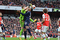 Bernd Leno of Arsenal FC and Sebastien Haller of West Ham United during Arsenal vs West Ham United, Premier League Football at the Emirates Stadium on 7th March 2020