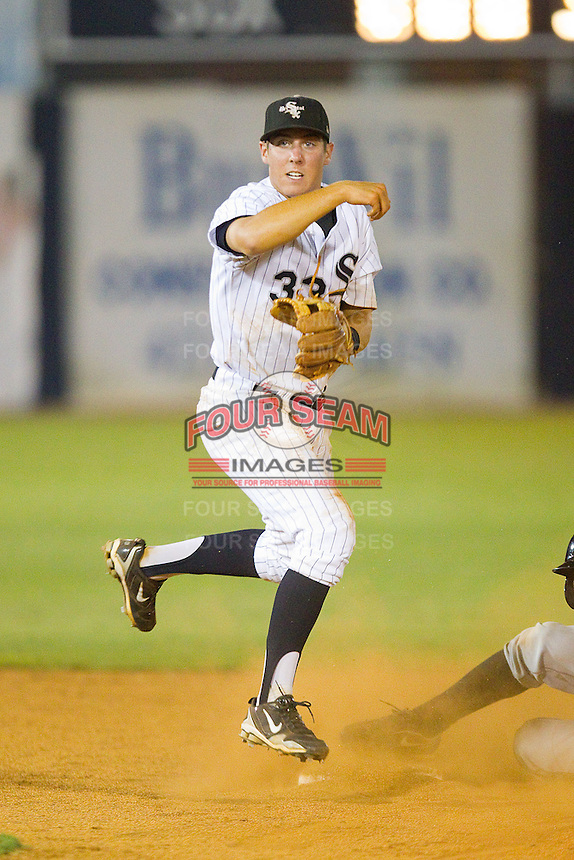 Shortstop Bradley Salgado #33 of the Bristol White Sox on defense against the Bluefield Orioles at Boyce Cox Field August 27, 2010, in Bristol, Tennessee.  Photo by Brian Westerholt / Four Seam Images