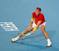 4th January 2020; RAC Arena, Perth, Western Australia; ATP Cup Australia, Perth, Day 2; Spain versus Georgia Rafael Nadal of Spain plays a forehand shot against Nikoloz Basilashvili of Georgia - Editorial Use