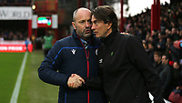 Reading Manager, Mark Bowen shakes hands with Brentford Head Coach, Thomas Frank, ahead of kick-off during Brentford vs Reading, Sky Bet EFL Championship Football at Griffin Park on 23rd November 2019