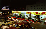 Tower Records at night with Clint Eastwood billboard in background on the SunsetStrip in Los Angeles in 1988.