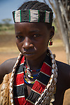Unidentified women from the Hamar Tribe in traditional clothing in Omo Valley, Ethiopia.