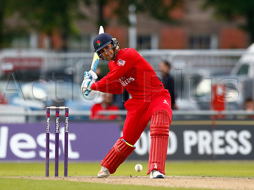 24.06.2016. Old Trafford, Manchester, England. Natwest T20 Blast. Lancashire Lightning versus Worcestershire Rapids. Lancashire Lightning all-rounder Liam Livingstone hits a boundary in a bright 28.