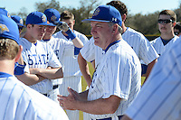 South Dakota State JackRabbits head coach Dave Schrage (13) talks with his team before a game against the Maine Black Bears at South County Regional Park on March 9, 2014 in Port Charlotte, Florida.  Maine defeated South Dakota 5-4.  (Mike Janes/Four Seam Images)