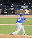 Masahiro Tanaka (Yankees), Daisuke Matsuzaka (Mets),<br /> MAY 13, 2014 - MLB :<br /> Masahiro Tanaka of the New York Yankees watches from the dugout as Daisuke Matsuzaka of the New York Mets pitches during the Major League Baseball game at Yankee Stadium in Bronx, New York, United States. (Photo by AFLO)