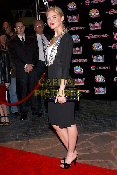 "JAMIE KING.""Elektra'"" World Premiere held at the Palms Casino,  Las Vegas, Nevada, USA, 08 January 2005 ..full length black dress silver necklace clutch bag mules open toe shoes.Ref: ADM.www.capitalpictures.com.sales@capitalpictures.com.©Jacqui Wong /AdMedia/Capital Pictures ."