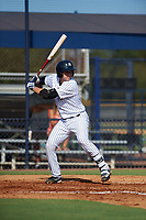 New York Yankees Kyle Higashioka (38) at bat during an Instructional League game against the Baltimore Orioles September 23, 2017 at the Yankees Minor League Complex in Tampa, Florida.  (Mike Janes/Four Seam Images)