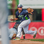 12 July 2015: Vermont Lake Monsters infielder Jesus Lopez in action against the West Virginia Black Bears at Centennial Field in Burlington, Vermont. The Lake Monsters came back from a 4-0 deficit to defeat the Black Bears 5-4 in NY Penn League action. Mandatory Credit: Ed Wolfstein Photo *** RAW Image File Available ****