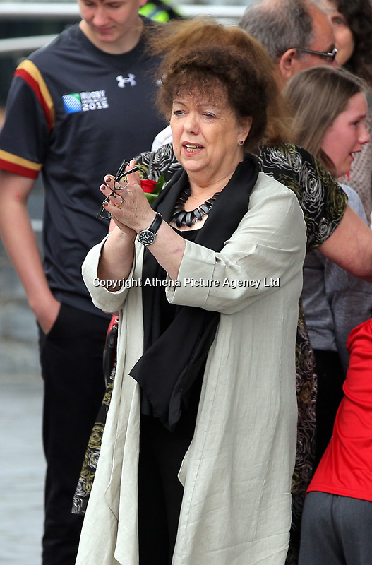 "Pictured: Lorraine Barrett thanks those attending after the service. Wednesday 31 May 2017<br /> Re: The funeral for former first minister Rhodri Morgan has taken place in the Senedd in Cardiff Bay.<br /> The ceremony, which was open to the public, was conducted by humanist celebrant Lorraine Barrett.<br /> She said the event was ""a celebration of his life through words, poetry and music"".<br /> Mr Morgan, who died earlier in May aged 77, served as the Welsh Assembly's first minister from 2000 to 2009.<br /> He was credited with bringing stability to the fledgling assembly during his years in charge.<br /> It is understood Mr Morgan had been out cycling near his home when he died."
