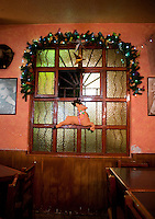 Christmas Decorations, Carleton Bar in the Tabacalera neighbourhood. Night bicycle rides,  Mexico City.
