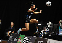 23.02.2018 Silver Ferns Temalisi Fakahokotau chases a loose ball during the Silver Ferns v Fiji Taini Jamison Trophy netball match at the North Shore Events Centre in Auckland. Mandatory Photo Credit ©Michael Bradley.