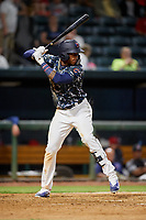 Jacksonville Jumbo Shrimp center fielder Monte Harrison (3) at bat during a game against the Mobile BayBears on April 14, 2018 at Baseball Grounds of Jacksonville in Jacksonville, Florida.  Mobile defeated Jacksonville 13-3.  (Mike Janes/Four Seam Images)