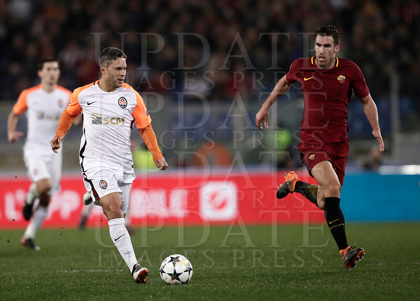 Football Soccer: UEFA Champions League  Round of 16 Second Leg, AS Roma vs FC Shakhtar Donetsk, Stadio Olimpico Rome, Italy, March 13, 2018. <br /> Shakhtar Donetsk's Marlos (l) in action with Roma's Kevin Strootman (r) during the Uefa Champions League football soccer match between AS Roma and FC Shakhtar Donetsk at Rome's Olympic stadium, March 13, 2018.<br /> UPDATE IMAGES PRESS/Isabella Bonotto