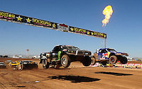 Apr 17, 2011; Surprise, AZ USA; LOORRS driver Johnny Greaves (16) and Ricky Johnson (48) during round 4 at Speedworld Off Road Park. Mandatory Credit: Mark J. Rebilas-